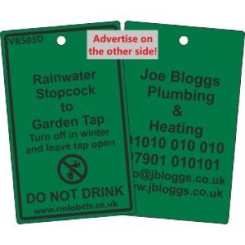 Rainwater Stopcock to Garden Tap Label and your details on reverse Code VR503DA