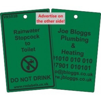 Rainwater Stopcock to Toilet Label and your details on reverse Code VR503BA