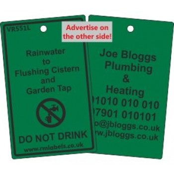 Rainwater to Flushing Cistern and Garden Tap Label and your details on reverse Code VR551LA