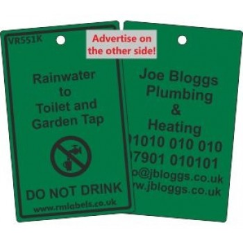 Rainwater to Toilet and Garden Tap Label and your details on reverse Code VR551KA