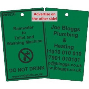 Rainwater to Toilet and Washing Machine Label and your details on reverse Code VR551GA