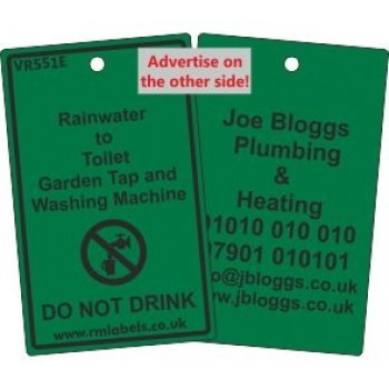 Rainwater to Toilet Garden Tap and Washing Machine Label and your details on reverse Code VR551EA