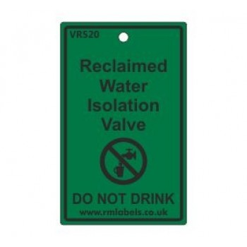 Reclaimed Water Isolation Valve Label Code VR520