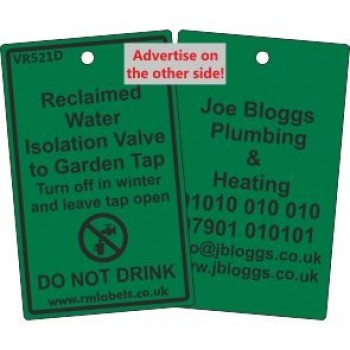 Reclaimed Water Isolation Valve to Garden Tap Label and your details on reverse Code VR521DA