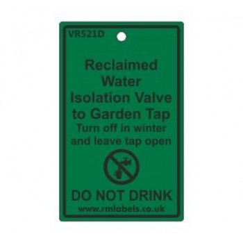 Reclaimed Water Isolation Valve to Garden Tap Label Code VR521D