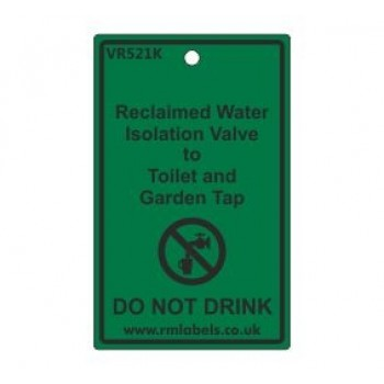 Reclaimed Water Isolation Valve to Toilet and Garden Tap Label Code VR521K