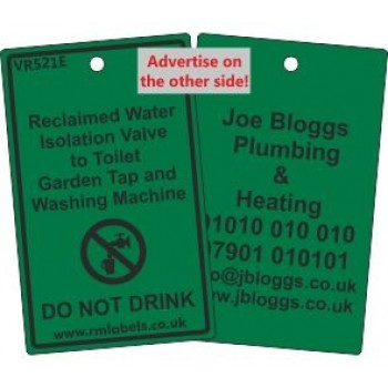 Reclaimed Water Isolation Valve to Toilet Garden Tap and Washing Machine Label and your details on reverse Code VR521EA
