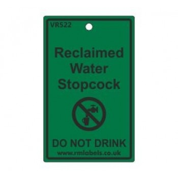 Reclaimed Water Stopcock Label Code VR522