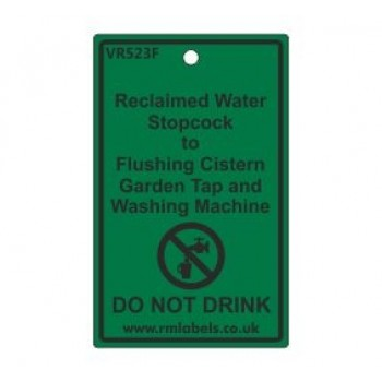 Reclaimed Water Stopcock to Flushing Cistern Garden Tap and Washing Machine Label Code VR523F