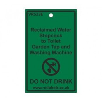 Reclaimed Water Stopcock to Toilet Garden Tap and Washing Machine Label Code VR523E
