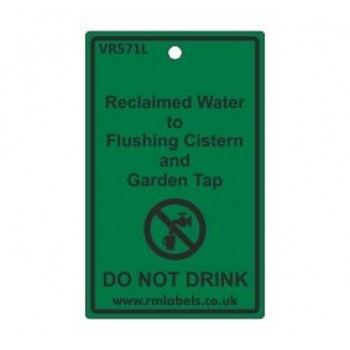 Reclaimed Water to Flushing Cistern and Garden Tap Label Code VR571L