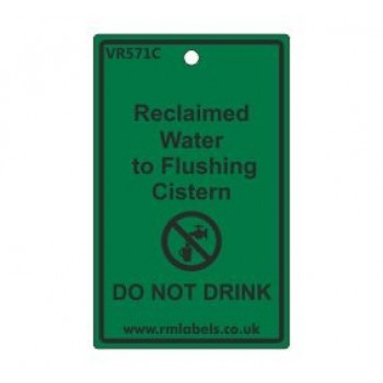 Reclaimed Water to Flushing Cistern Label Code VR571C
