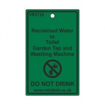 Reclaimed Water to Toilet Garden Tap and Washing Machine Label Code VR571E