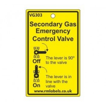 Secondary Gas Emergency Control Valve Label Code VG303