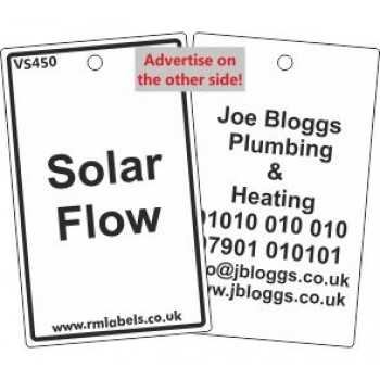 Solar Flow Label and your details on reverse Code VS450A