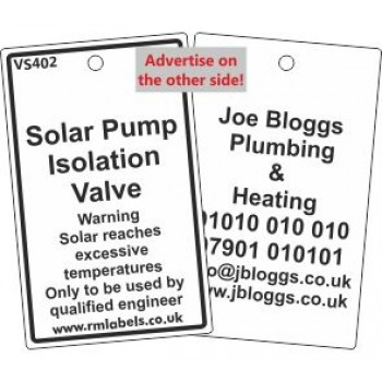 Solar Pump Isolation Valve Label and your details on reverse Code VS402A