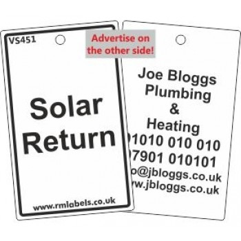 Solar Return Label and your details on reverse Code VS451A