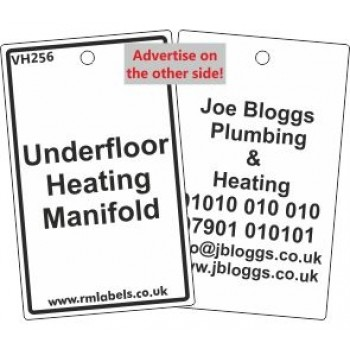 Underfloor Heating Manifold Label and your details on reverse Code VH256A