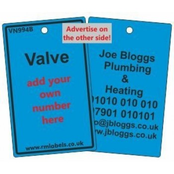 Valve Label in blue and your details on reverse Code VN994BA