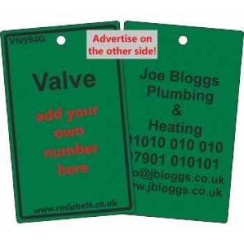 Valve Label in green and your details on reverse Code VN994GA