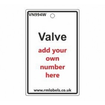 Valve Label in white Code VN994W