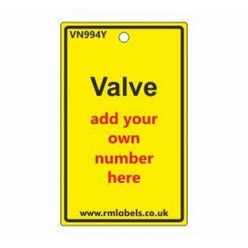 Valve Label in yellow Code VN994Y