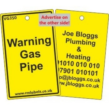 Waring Gas Pipe Label and your details on reverse Code VG350A