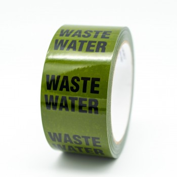Waste Water Pipe Identification Tape - Green 12-D-45 - R M Labels - ID291T50G