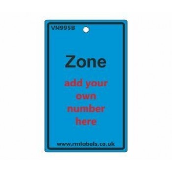 Zone Label in blue Code VN995B