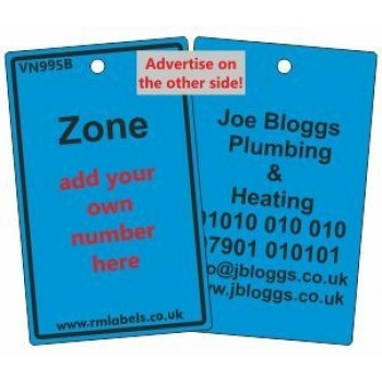 Zone Label in blue and your details on reverse Code VN995BA