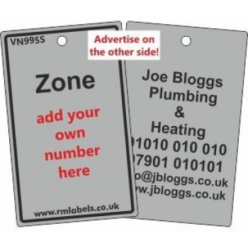 Zone Label in grey and your details on reverse Code VN995SA