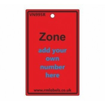 Zone Label in red Code VN995R