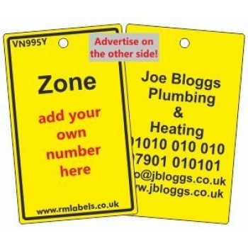 Zone Label in yellow and your details on reverse Code VN995YA