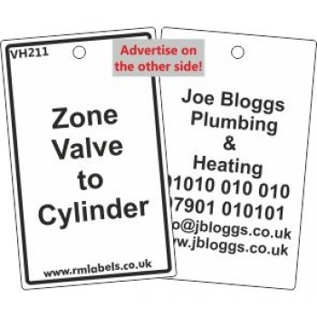 Zone Valve to Cylinder Label and your details on reverse Code VH211A