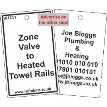 Zone Valve to Heated Towel Rails Label and your details on reverse Code VH217A