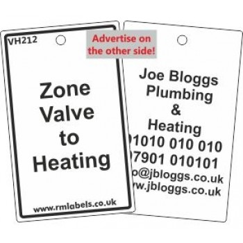 Zone Valve to Heating Label Code and your details on reverse VH212A