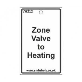 Zone Valve to Heating Label Code VH212