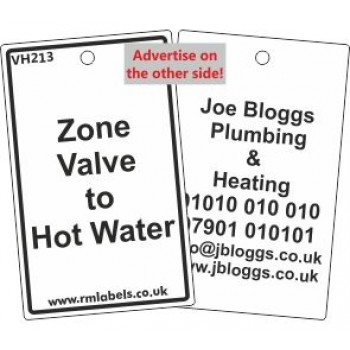 Zone Valve to Hot Water Label and your details on reverse Code VH213A