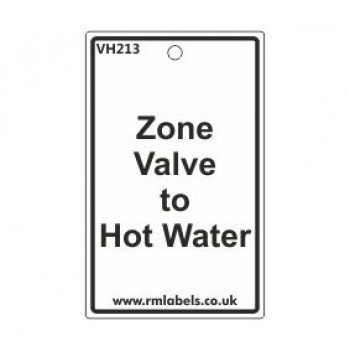 Zone Valve to Hot Water Label Code VH213
