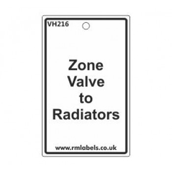 Zone Valve to Radiators Label Code VH216
