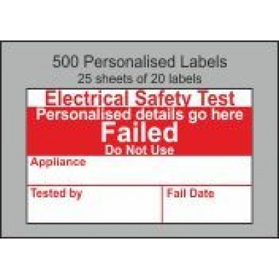 Personalised Electrical Safety PAT Test Failed Labels