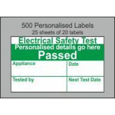 Personalised PAT Test Passed Labels Code PT03