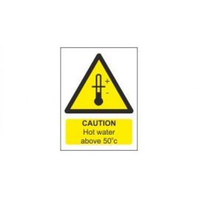 Caution Hot Water Label 75x100mm Self Adhesive Code WS30SA