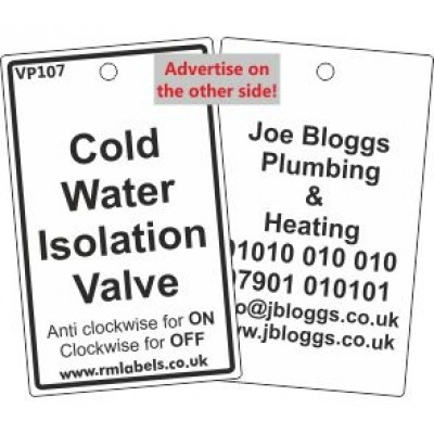 Cold Water Isolation Valve Label Code VP107