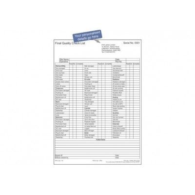 Personalised Final Quality Check List Certificate 25 sets Code 50T3PT
