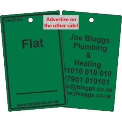 Flat Label in green with your details on reverse Code VN992GA