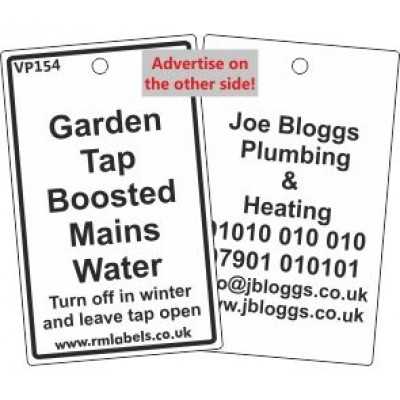 Garden Tap Boosted Mains Water Label Code VP154