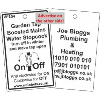 Garden Tap Boosted Mains Water Stopcock Label with pictogram Code VP104