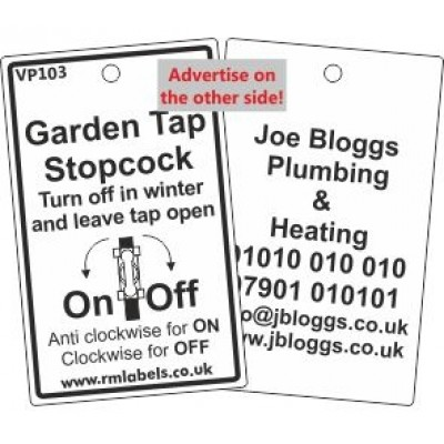Garden Tap Stopcock Label with pictogram Code VP103