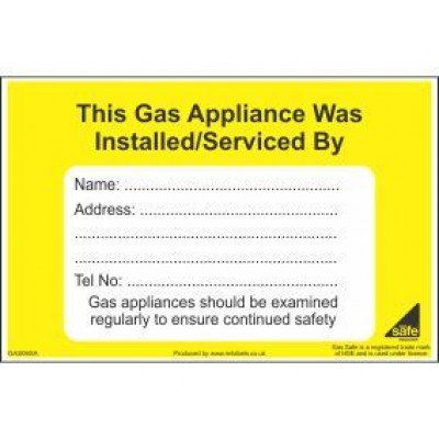 Gas Appliance Installed Serviced By Label GAS06SA